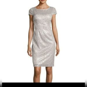 Adrianna Papell Feather Sequin Cocktail Dress NWT
